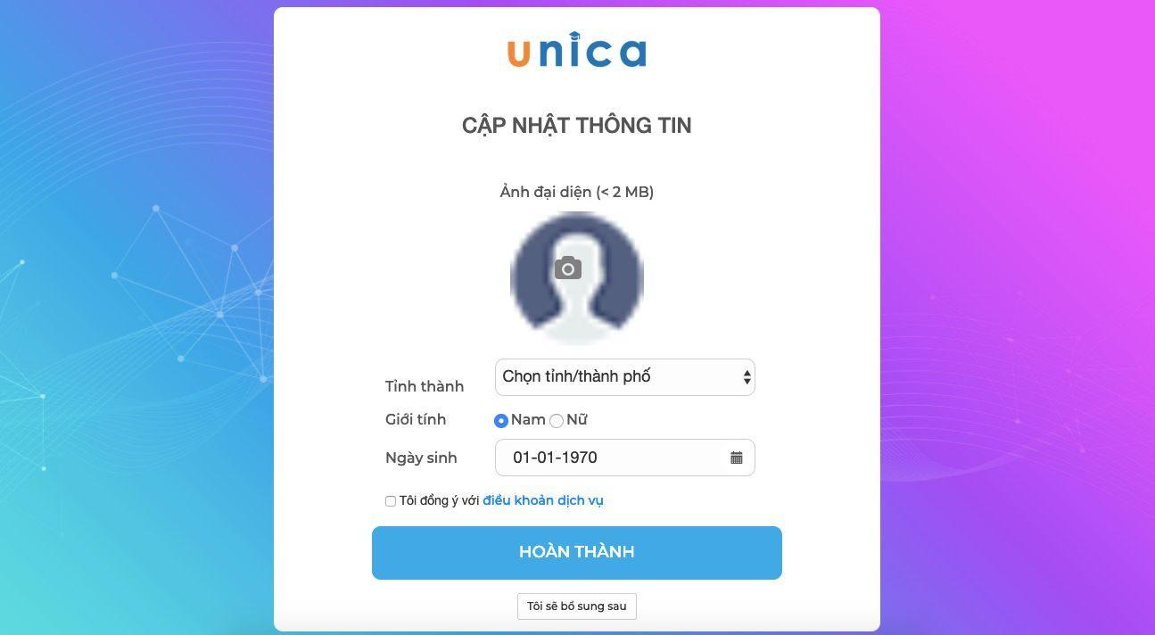 hướng dẫn đăng ký tài khoản unica